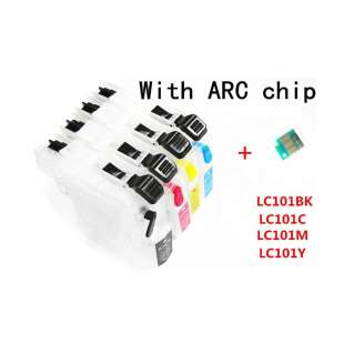 Continuous Ink Cartridge (CIC) bundle for Brother LC101 (Bk/CMY) - Empty Refillables With Auto reset Chips - 4 pack