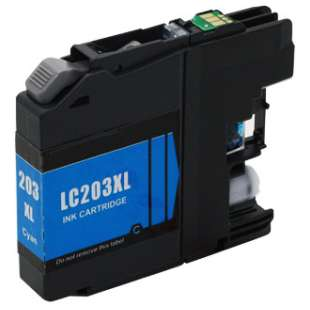 Compatible ink cartridge guaranteed to replace Brother LC203C - high yield cyan