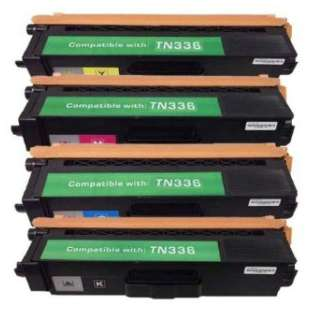 Compatible Brother TN336BK / TN336C / TN336M / TN336Y toner cartridges - 4-pack