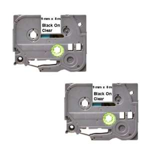 Compatible label tape for Brother TZe-121 - black on clear - 2-pack