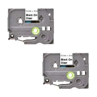 Compatible label tape for Brother TZe-131 - black on clear - 2-pack