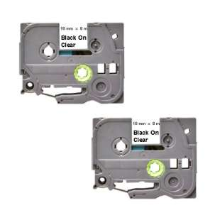 Compatible label tape for Brother TZe-141 - black on clear - 2-pack