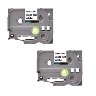 Compatible label tape for Brother TZe-221 - black on white - 2-pack