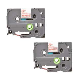 Compatible label tape for Brother TZe-242 - red on white - 2-pack