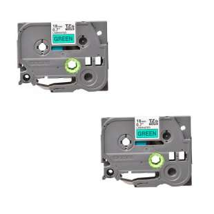 Compatible label tape for Brother TZe-741 - black on green - 2-pack