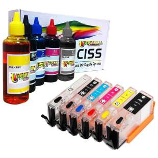 Continuous Ink Cartridge (CIC) bundle for Canon PGI-270 / CLI-271 (6 Pack) - with Auto reset Chips and With Ink - 40 to 50 Refills Included