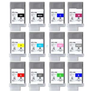 Compatible high quality inkjet cartridges Multipack for Canon PFI-106 - 12 pack