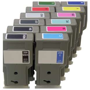 Compatible high quality inkjet cartridges Multipack for Canon PFI-206 - 12 pack