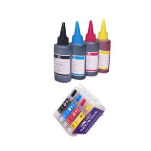 Continuous Ink Cartridge (CIC) bundle for Epson T200XL (Bk/CMY) - with Auto reset Chips and With Ink - 33 Refills Included