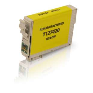 Remanufactured Epson T127420 (127 ink) high quality inkjet cartridge - extra high capacity pigmented yellow