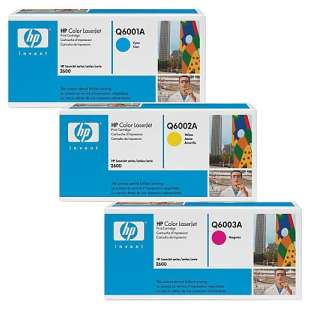Original Hewlett Packard (HP) Q6001A / Q6002A / Q6003A toner cartridges - 3-pack