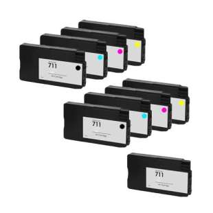 Remanufactured high quality inkjet cartridges Multipack for HP 711 - 9 pack
