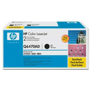Original Hewlett Packard (HP) Q6470AD toner cartridges - 2-pack