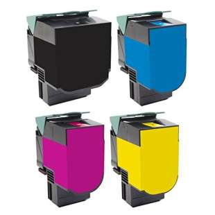Remanufactured Lexmark 70C1HK0, 70C1HC0, 70C1HM0, 70C1HY0 toner cartridges - 4-pack