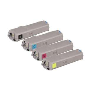 High Quality Compatible Okidata 46490604 / 46490603 / 46490602 / 46490601 toner cartridges - 4-pack