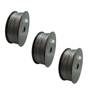3 PACK Bison3D Filament for 3D Printing, 1.75mm, 1kg/roll, Silver (PLA)