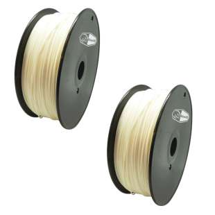2 PACK Bison3D Filament for 3D Printing, 1.75mm, 1kg/Roll, White (PLA)
